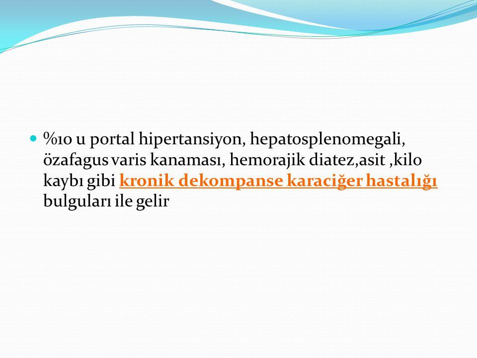 %10 u portal hipertansiyon, hepatosplenomegali, özafagus varis kanaması, hemorajik diatez,asit,kilo kaybı gibi kronik dekompanse karaciğer hastalığı b