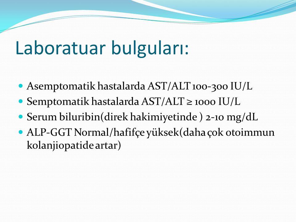 Laboratuar bulguları: Asemptomatik hastalarda AST/ALT 100-300 IU/L Semptomatik hastalarda AST/ALT ≥ 1000 IU/L Serum biluribin(direk hakimiyetinde ) 2-