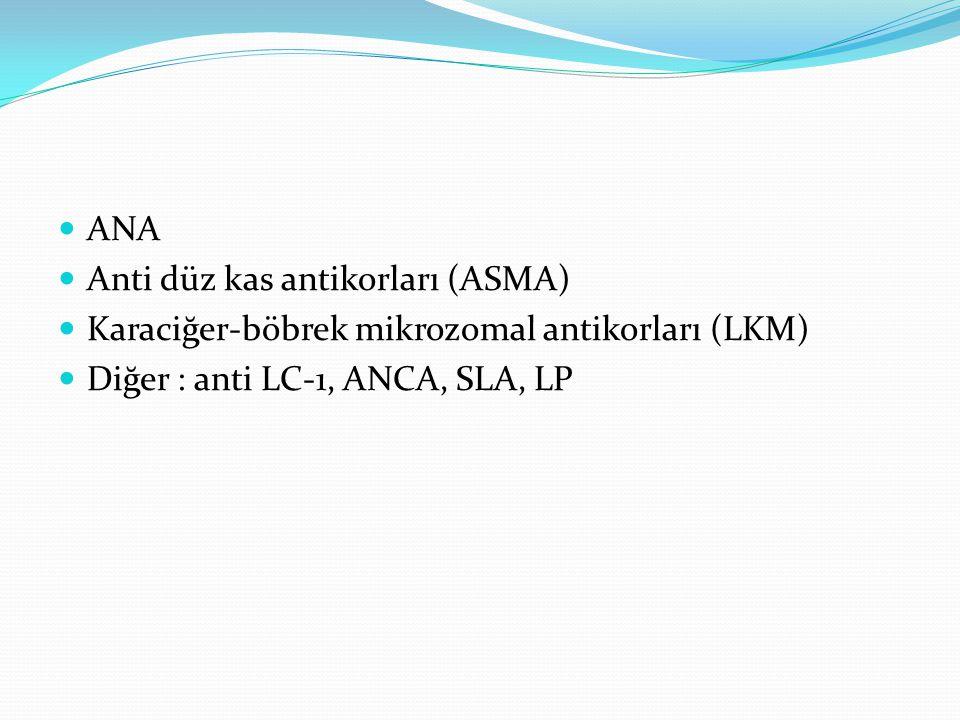 ANA Anti düz kas antikorları (ASMA) Karaciğer-böbrek mikrozomal antikorları (LKM) Diğer : anti LC-1, ANCA, SLA, LP