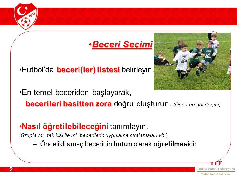 2 Beceri SeçimiBeceri Seçimi beceri(ler) listesiFutbol'da beceri(ler) listesi belirleyin.