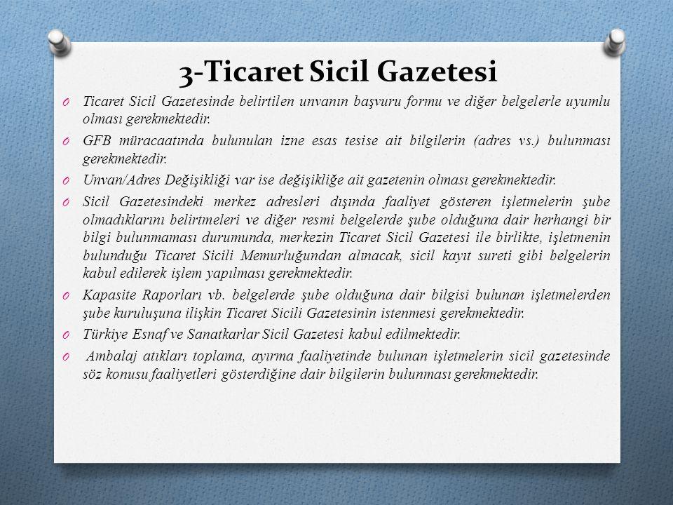 3-Ticaret Sicil Gazetesi O Ticaret Sicil Gazetesinde belirtilen unvanın başvuru formu ve diğer belgelerle uyumlu olması gerekmektedir. O GFB müracaatı