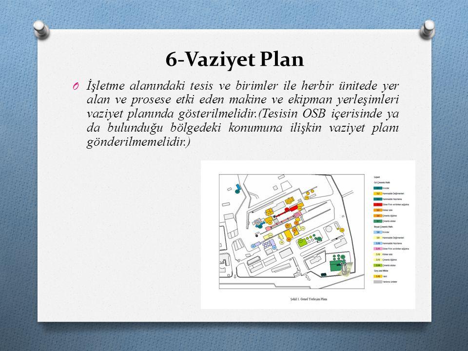 6-Vaziyet Plan O İşletme alanındaki tesis ve birimler ile herbir ünitede yer alan ve prosese etki eden makine ve ekipman yerleşimleri vaziyet planında