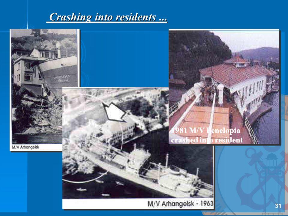 1981 M/V Penelopia crashed into resident Crashing into residents... 31