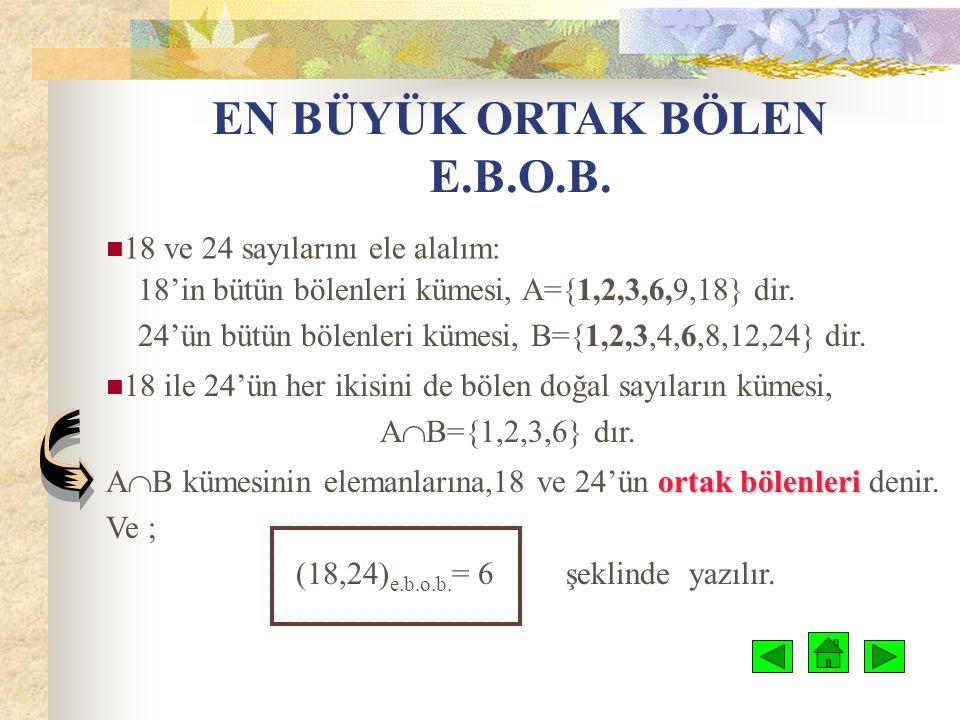 ASAL SAYILAR VE ÇARPANLARINA AYIRMA DOĞAL SAYILARDA BÖLÜNEBİLME ASAL SAYILAR E.B.O.B E.K.O.K  Çözümlü Örnekler  Mini Test