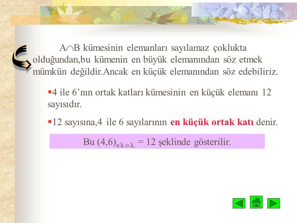 EN KÜÇÜK ORTAK KAT E.K.O.K  4 ve 6 doğal sayılarının katlarının kümelerini yazalım.  4'ün katları kümesi A, 6'nın katları kümesi de B olsun. A= { 4,