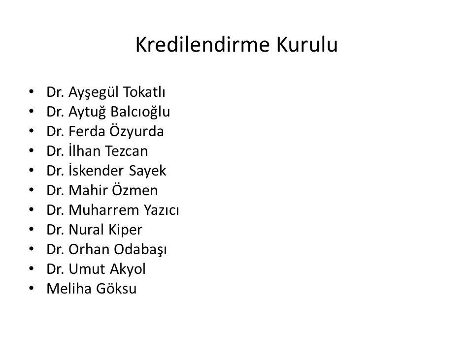 Kredilendirme Kurulu Dr. Ayşegül Tokatlı Dr. Aytuğ Balcıoğlu Dr. Ferda Özyurda Dr. İlhan Tezcan Dr. İskender Sayek Dr. Mahir Özmen Dr. Muharrem Yazıcı