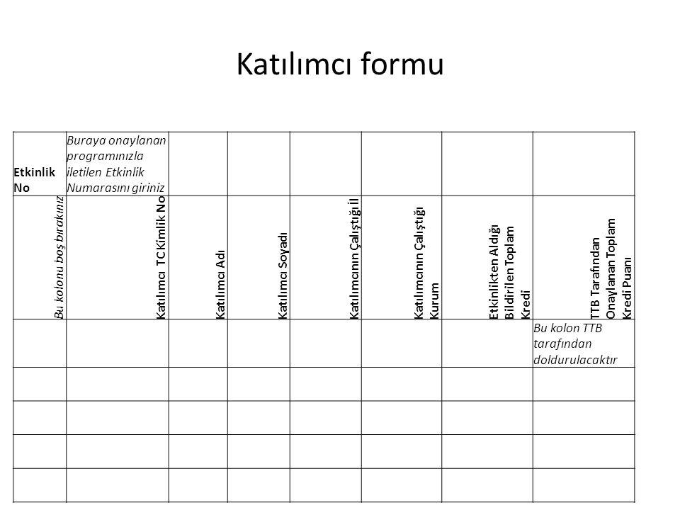 Katılımcı formu Etkinlik No Buraya onaylanan programınızla iletilen Etkinlik Numarasını giriniz Bu kolonu boş bırakınız Katılımcı TC Kimlik No Katılım