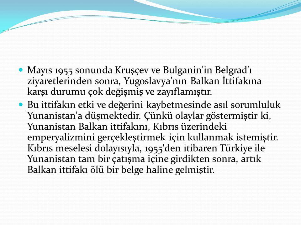 Mayıs 1955 sonunda Kruşçev ve Bulganin'in Belgrad'ı ziyaretlerinden sonra, Yugoslavya'nın Balkan İttifakına karşı durumu çok değişmiş ve zayıflamıştır