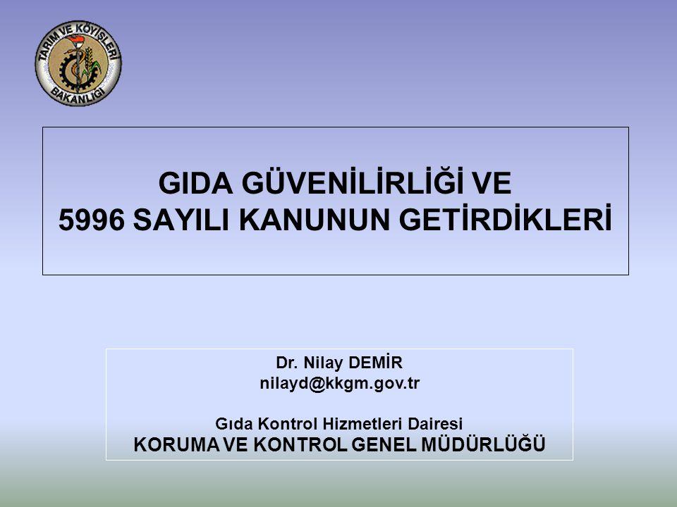 GIDA GÜVENİLİRLİĞİ VE 5996 SAYILI KANUNUN GETİRDİKLERİ Dr.