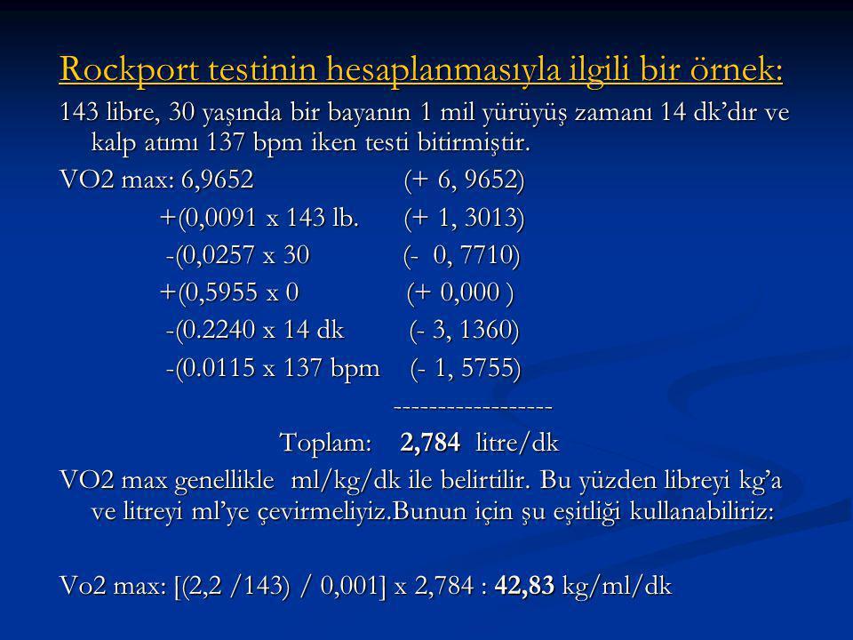 Rockport testinin hesaplanmasıyla ilgili bir örnek: 143 libre, 30 yaşında bir bayanın 1 mil yürüyüş zamanı 14 dk'dır ve kalp atımı 137 bpm iken testi