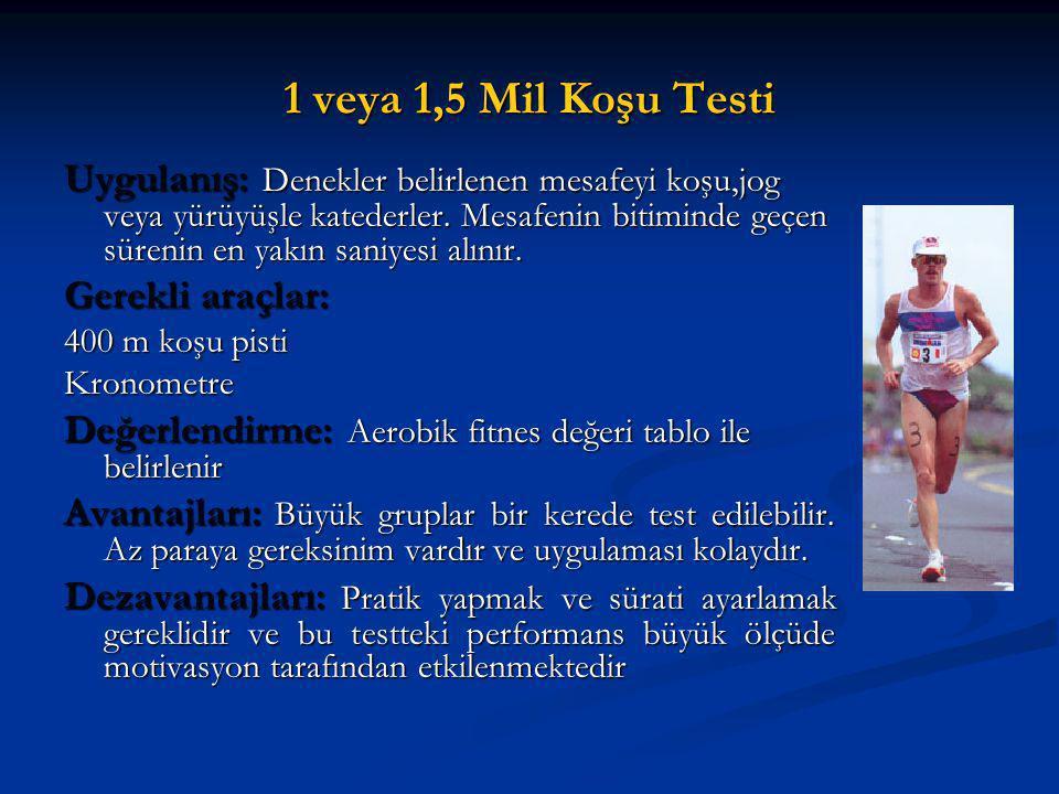 1 veya 1,5 Mil Koşu Testi Uygulanış: Denekler belirlenen mesafeyi koşu,jog veya yürüyüşle katederler. Mesafenin bitiminde geçen sürenin en yakın saniy