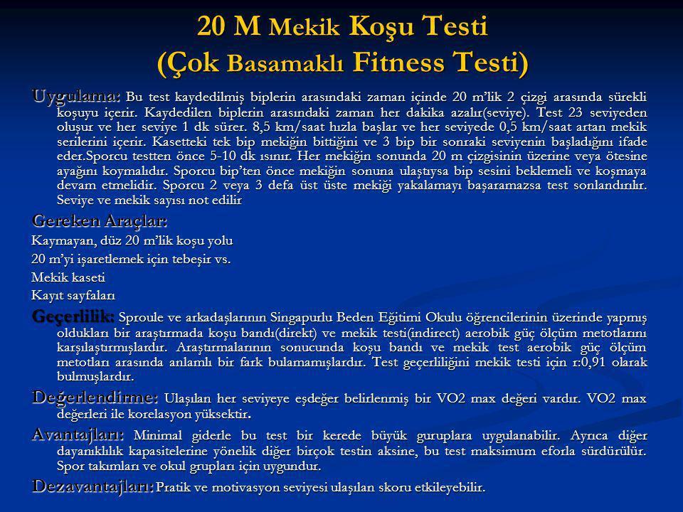 20 M Mekik Koşu Testi (Çok Basamaklı Fitness Testi) Uygulama: Bu test kaydedilmiş biplerin arasındaki zaman içinde 20 m'lik 2 çizgi arasında sürekli k