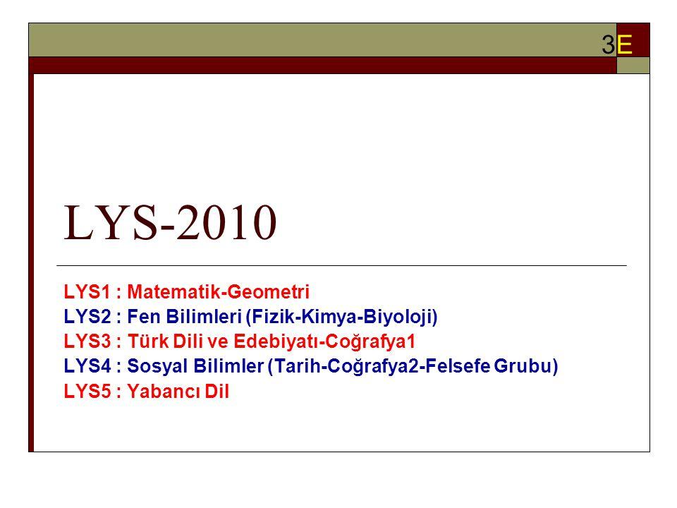 LYS-2010 LYS1 : Matematik-Geometri LYS2 : Fen Bilimleri (Fizik-Kimya-Biyoloji) LYS3 : Türk Dili ve Edebiyatı-Coğrafya1 LYS4 : Sosyal Bilimler (Tarih-Coğrafya2-Felsefe Grubu) LYS5 : Yabancı Dil 3E3E