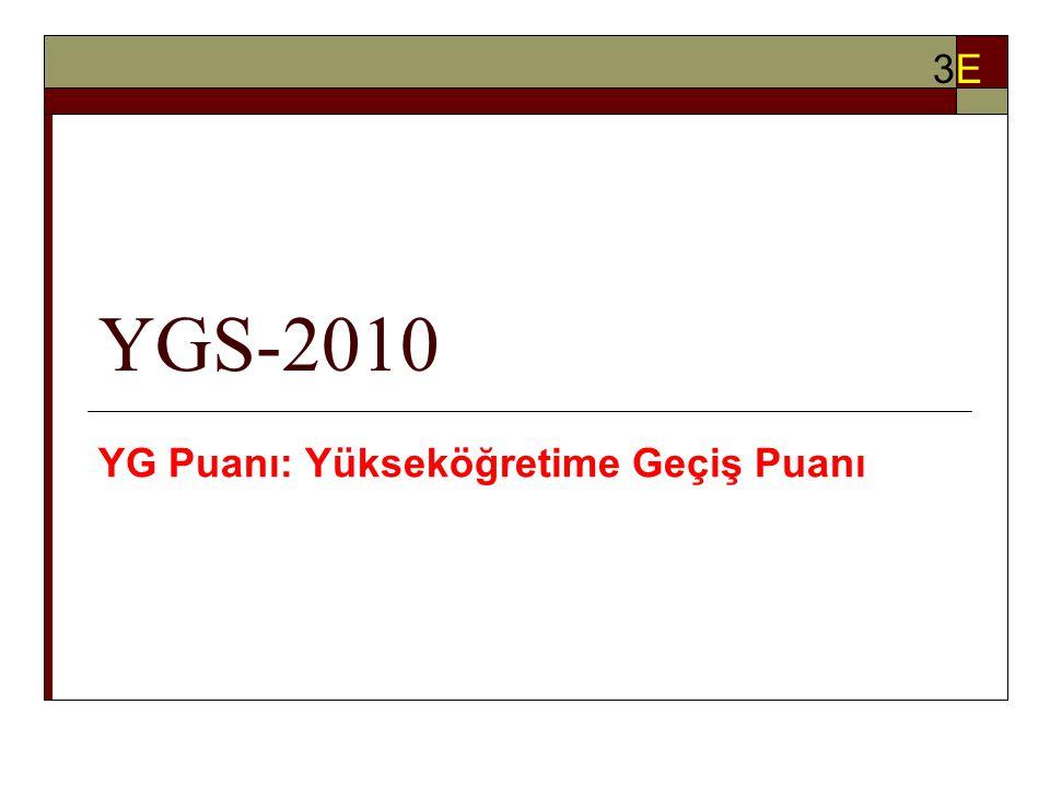 YGS-2010 YG Puanı: Yükseköğretime Geçiş Puanı 3E3E
