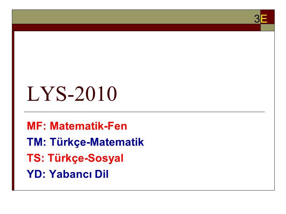 LYS-2010 MF: Matematik-Fen TM: Türkçe-Matematik TS: Türkçe-Sosyal YD: Yabancı Dil 3E3E