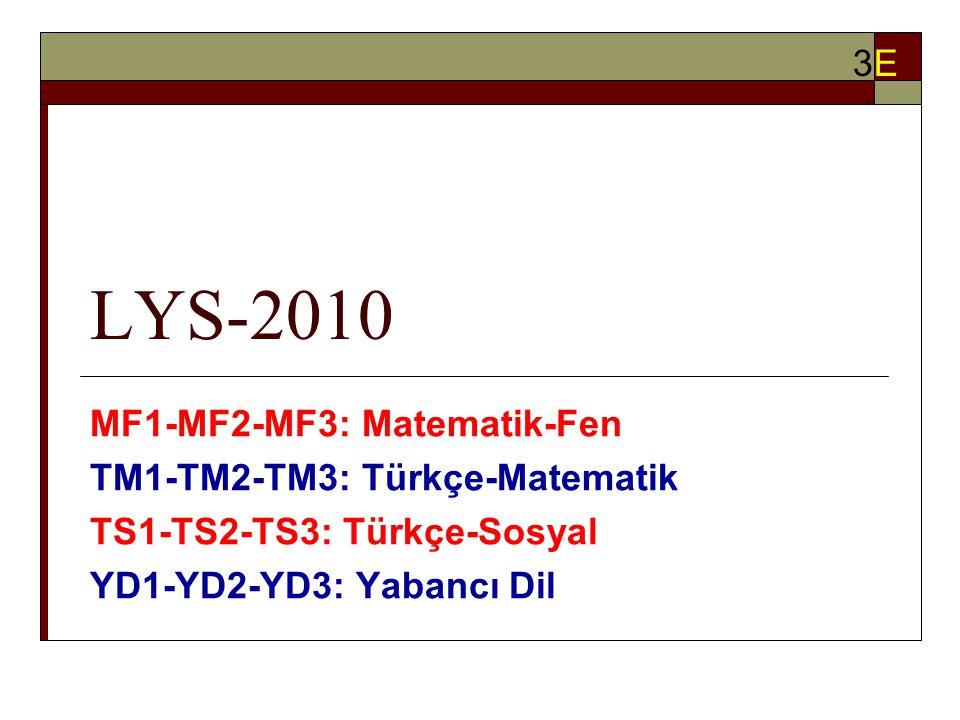LYS-2010 MF1-MF2-MF3: Matematik-Fen TM1-TM2-TM3: Türkçe-Matematik TS1-TS2-TS3: Türkçe-Sosyal YD1-YD2-YD3: Yabancı Dil 3E3E