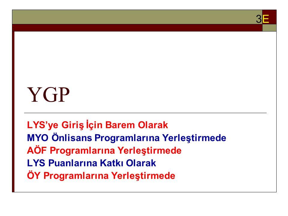 YGP LYS'ye Giriş İçin Barem Olarak MYO Önlisans Programlarına Yerleştirmede AÖF Programlarına Yerleştirmede LYS Puanlarına Katkı Olarak ÖY Programlarına Yerleştirmede 3E3E