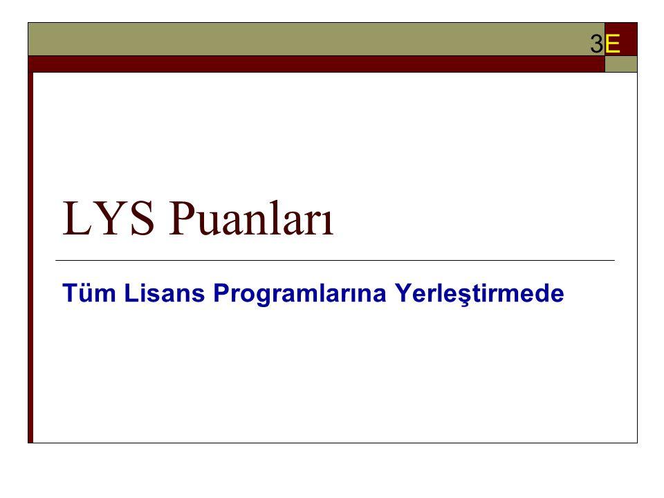 LYS Puanları Tüm Lisans Programlarına Yerleştirmede 3E3E