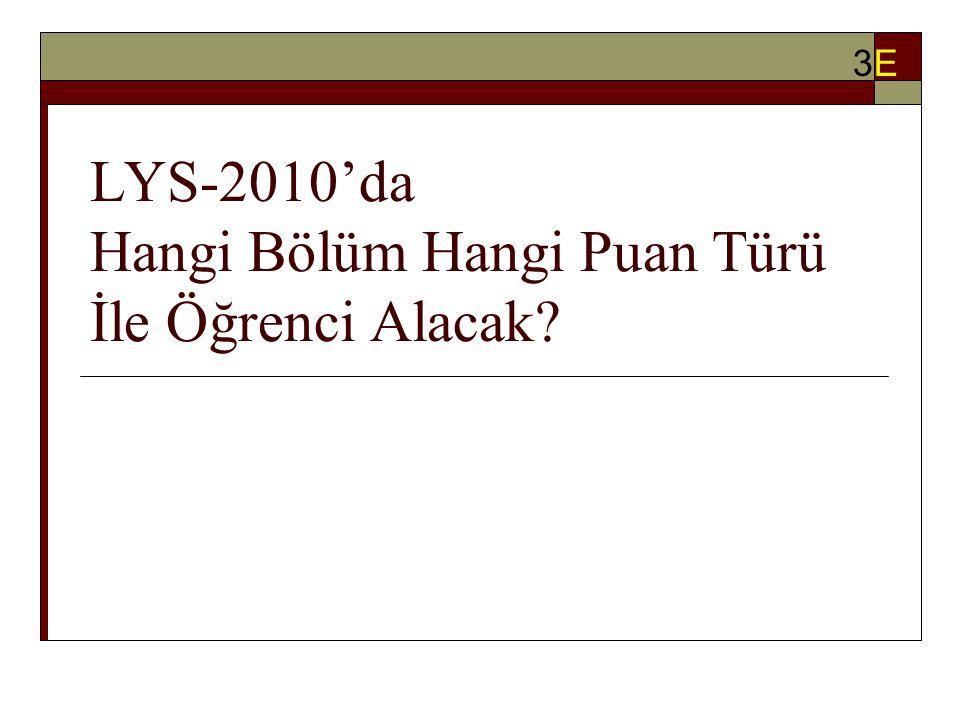 LYS-2010'da Hangi Bölüm Hangi Puan Türü İle Öğrenci Alacak? 3E3E