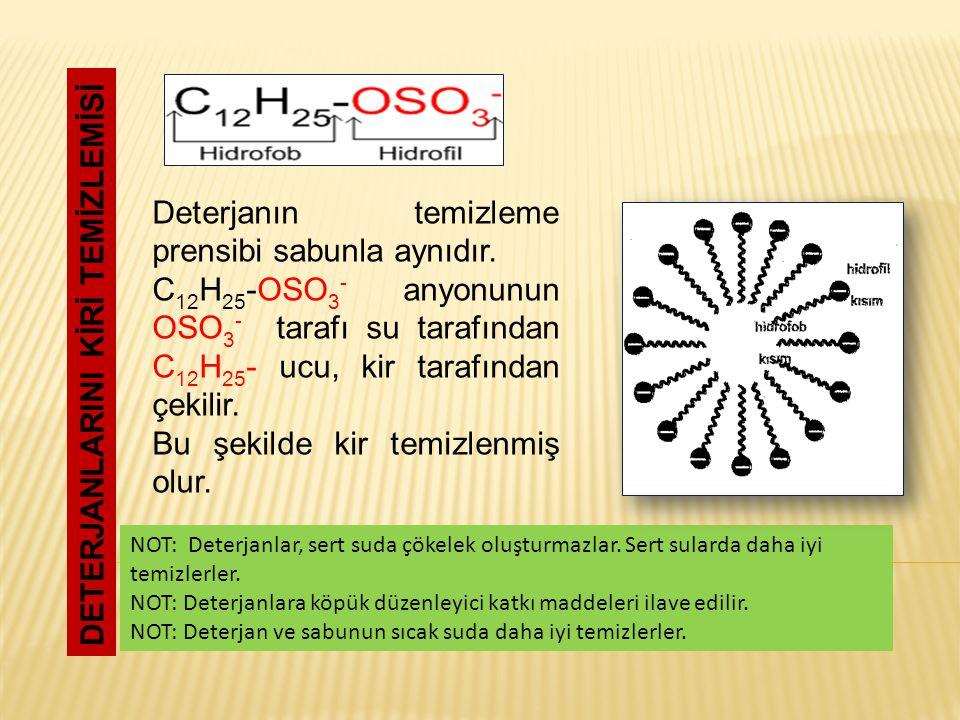 DETERJANLARINI KİRİ TEMİZLEMİSİ Deterjanın temizleme prensibi sabunla aynıdır. C 12 H 25 -OSO 3 - anyonunun OSO 3 - tarafı su tarafından C 12 H 25 - u