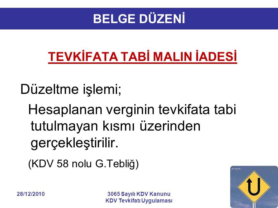 28/12/20103065 Sayılı KDV Kanunu KDV Tevkifatı Uygulaması 23 BELGE DÜZENİ TEVKİFATA TABİ MALIN İADESİ Düzeltme işlemi; Hesaplanan verginin tevkifata t