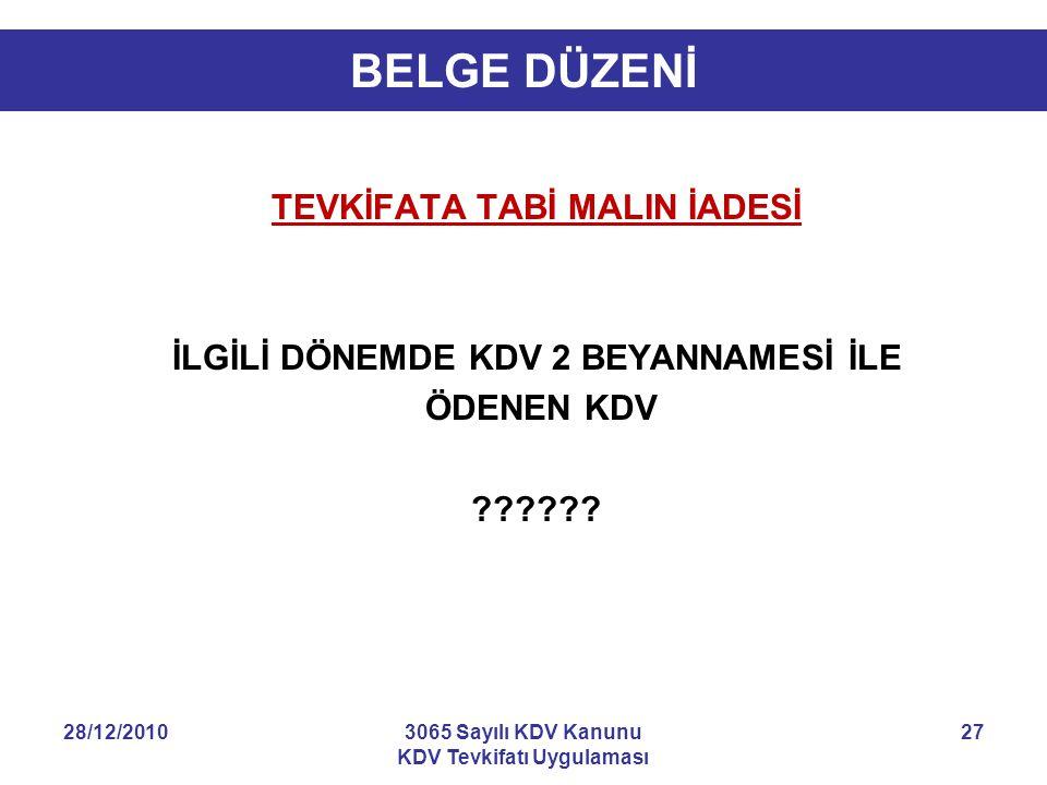 28/12/20103065 Sayılı KDV Kanunu KDV Tevkifatı Uygulaması 27 BELGE DÜZENİ TEVKİFATA TABİ MALIN İADESİ İLGİLİ DÖNEMDE KDV 2 BEYANNAMESİ İLE ÖDENEN KDV