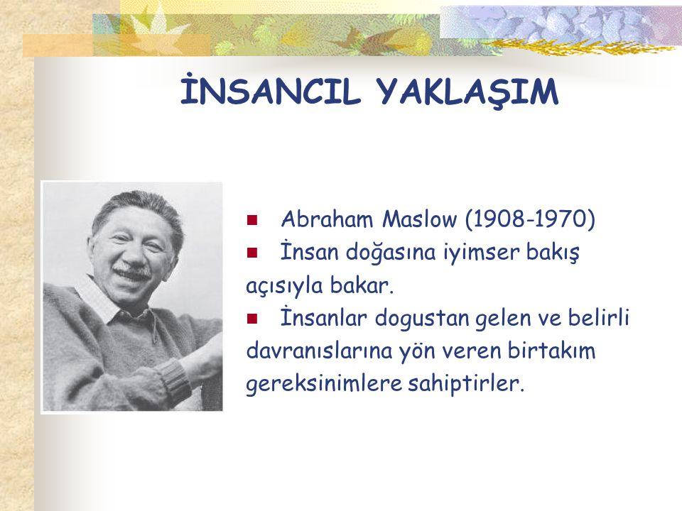 İNSANCIL YAKLAŞIM Abraham Maslow (1908-1970) İnsan doğasına iyimser bakış açısıyla bakar. İnsanlar dogustan gelen ve belirli davranıslarına yön veren