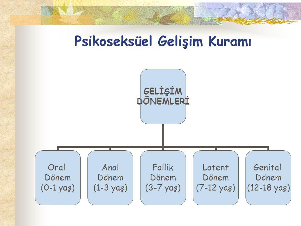 Psikoseksüel Gelişim Kuramı GELİŞİM DÖNEMLERİ Oral Dönem (0-1 yaş) Anal Dönem (1-3 yaş) Fallik Dönem (3-7 yaş) Latent Dönem (7-12 yaş) Genital Dönem (