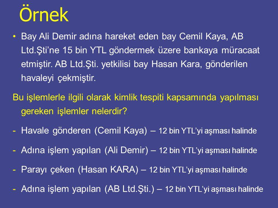 Bay Ali Demir adına hareket eden bay Cemil Kaya, AB Ltd.Şti'ne 15 bin YTL göndermek üzere bankaya müracaat etmiştir. AB Ltd.Şti. yetkilisi bay Hasan K