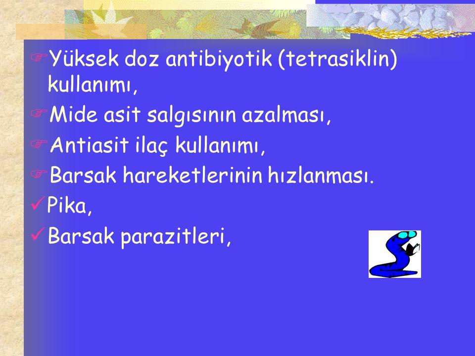  Yüksek doz antibiyotik (tetrasiklin) kullanımı,  Mide asit salgısının azalması,  Antiasit ilaç kullanımı,  Barsak hareketlerinin hızlanması. Pika