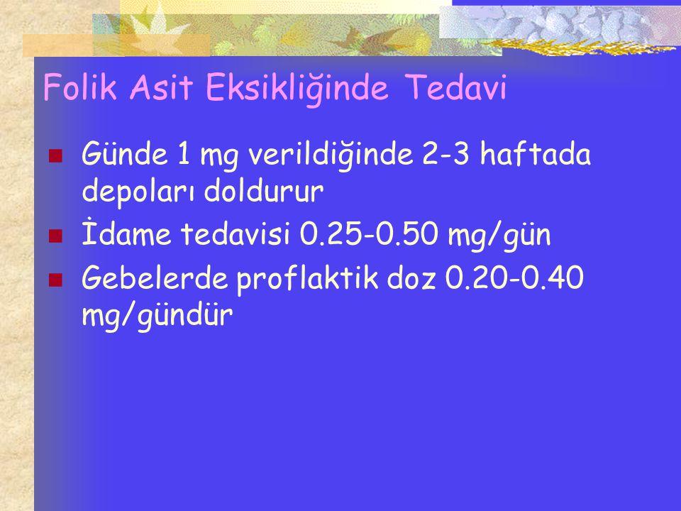Folik Asit Eksikliğinde Tedavi Günde 1 mg verildiğinde 2-3 haftada depoları doldurur İdame tedavisi 0.25-0.50 mg/gün Gebelerde proflaktik doz 0.20-0.4