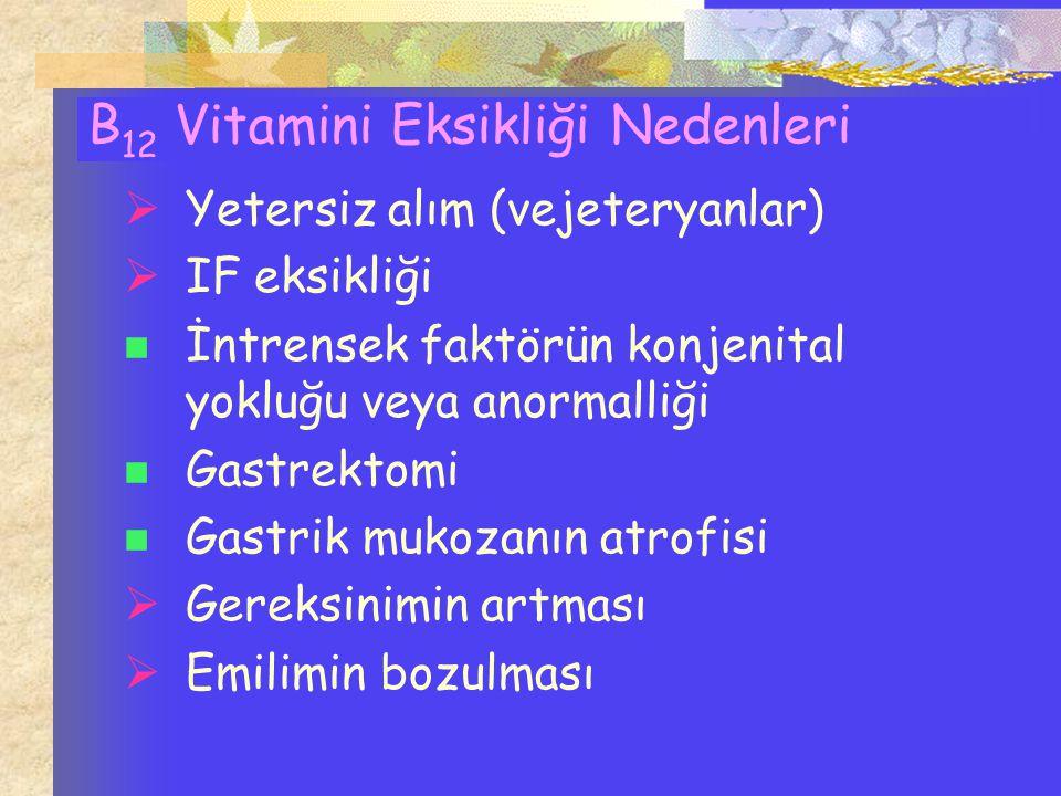 B 12 Vitamini Eksikliği Nedenleri  Yetersiz alım (vejeteryanlar)  IF eksikliği İntrensek faktörün konjenital yokluğu veya anormalliği Gastrektomi Ga