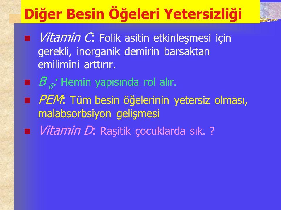 Diğer Besin Öğeleri Yetersizliği Vitamin C: Folik asitin etkinleşmesi için gerekli, inorganik demirin barsaktan emilimini arttırır. B 6 : Hemin yapısı