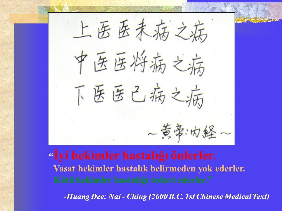 """"""" İyi hekimler hastalığı önlerler. Vasat hekimler hastalık belirmeden yok ederler. Kötü hekimler hastalığı tedavi ederler."""" -Huang Dee: Nai - Ching (2"""