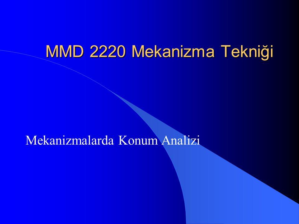 MMD 2220 Mekanizma Tekniği Mekanizmalarda Konum Analizi