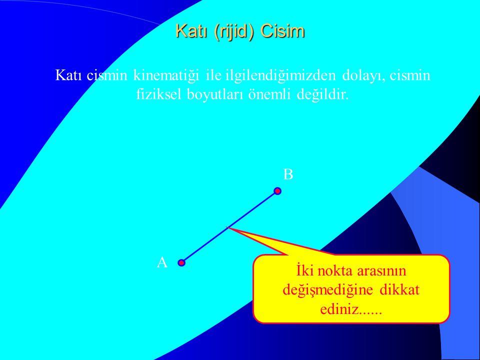 Katı (rijid) Cisim A B Katı cismin kinematiği ile ilgilendiğimizden dolayı, cismin fiziksel boyutları önemli değildir. A B İki nokta arasının değişmed