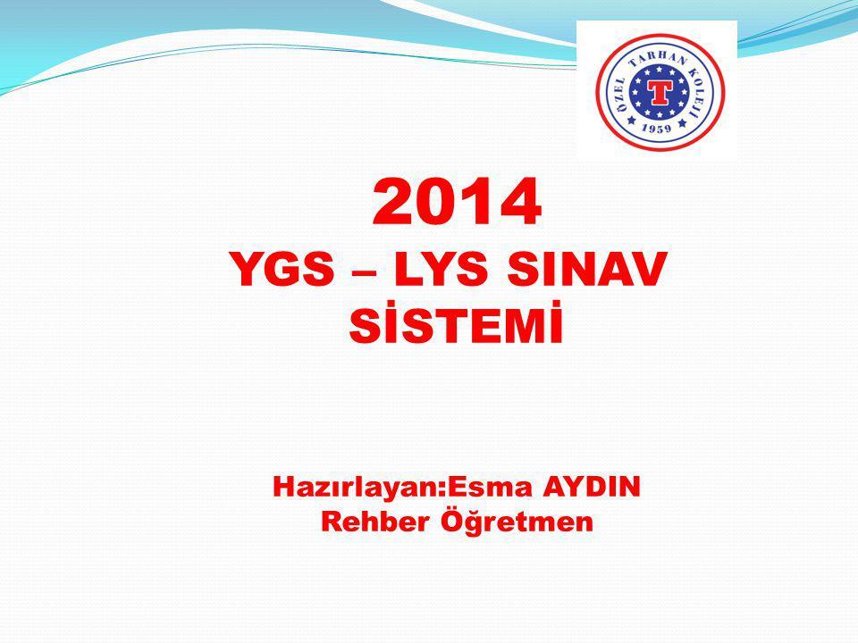 2014 YGS – LYS SINAV SİSTEMİ Hazırlayan:Esma AYDIN Rehber Öğretmen