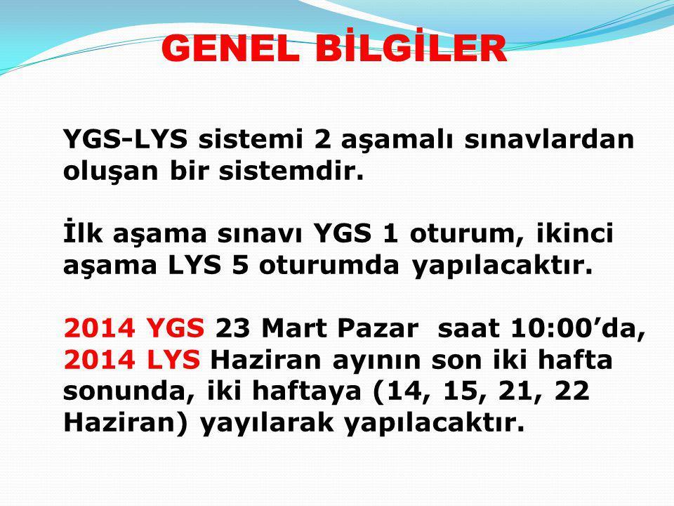 GENEL BİLGİLER YGS-LYS sistemi 2 aşamalı sınavlardan oluşan bir sistemdir. İlk aşama sınavı YGS 1 oturum, ikinci aşama LYS 5 oturumda yapılacaktır. 20