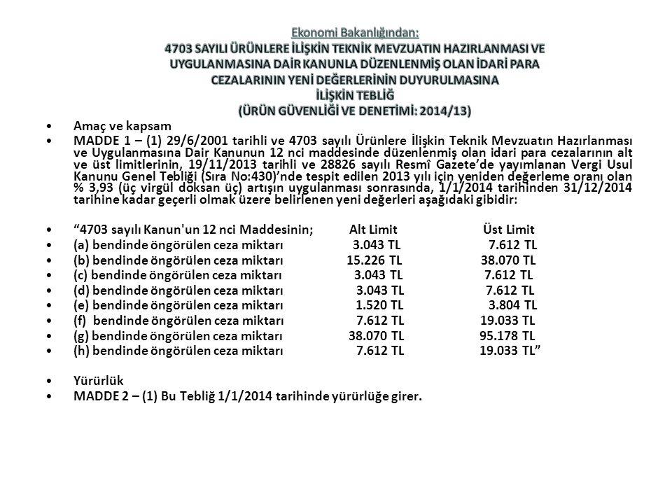 Amaç ve kapsam MADDE 1 – (1) 29/6/2001 tarihli ve 4703 sayılı Ürünlere İlişkin Teknik Mevzuatın Hazırlanması ve Uygulanmasına Dair Kanunun 12 nci maddesinde düzenlenmiş olan idari para cezalarının alt ve üst limitlerinin, 19/11/2013 tarihli ve 28826 sayılı Resmî Gazete'de yayımlanan Vergi Usul Kanunu Genel Tebliği (Sıra No:430)'nde tespit edilen 2013 yılı için yeniden değerleme oranı olan % 3,93 (üç virgül doksan üç) artışın uygulanması sonrasında, 1/1/2014 tarihinden 31/12/2014 tarihine kadar geçerli olmak üzere belirlenen yeni değerleri aşağıdaki gibidir: 4703 sayılı Kanun un 12 nci Maddesinin; Alt Limit Üst Limit (a) bendinde öngörülen ceza miktarı 3.043 TL 7.612 TL (b) bendinde öngörülen ceza miktarı 15.226 TL 38.070 TL (c) bendinde öngörülen ceza miktarı 3.043 TL 7.612 TL (d) bendinde öngörülen ceza miktarı 3.043 TL 7.612 TL (e) bendinde öngörülen ceza miktarı 1.520 TL 3.804 TL (f) bendinde öngörülen ceza miktarı 7.612 TL 19.033 TL (g) bendinde öngörülen ceza miktarı 38.070 TL 95.178 TL (h) bendinde öngörülen ceza miktarı 7.612 TL 19.033 TL Yürürlük MADDE 2 – (1) Bu Tebliğ 1/1/2014 tarihinde yürürlüğe girer.