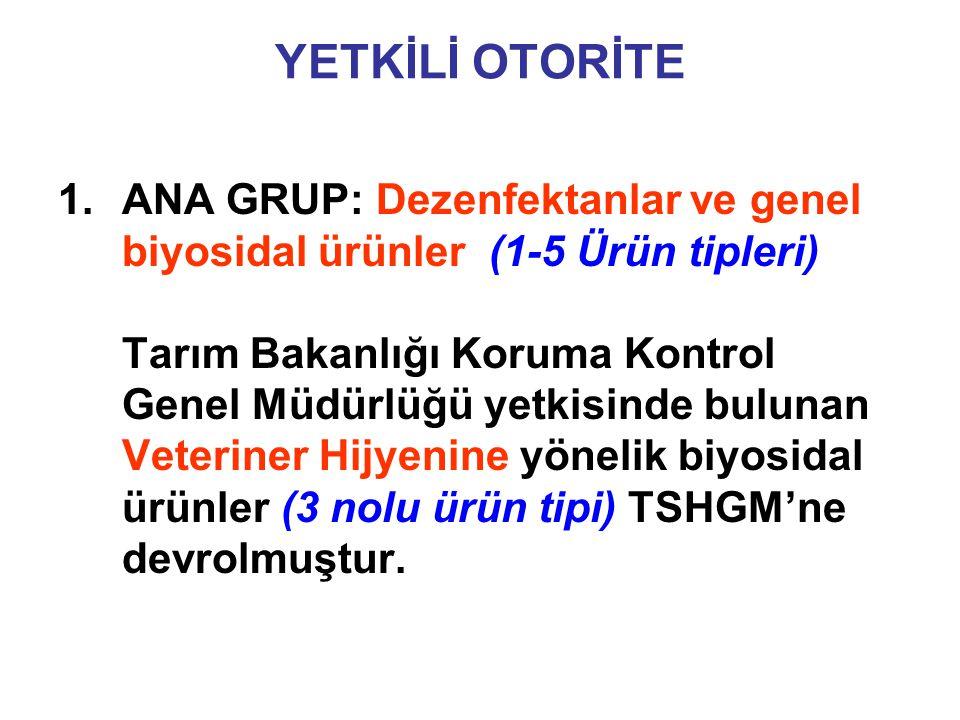 YETKİLİ OTORİTE 2.ANA GRUP: Koruyucular (6-13 Ürün tipleri) 4.ANA GRUP: Diğer biyosidal ürünler (20-23 Ürün tipleri)