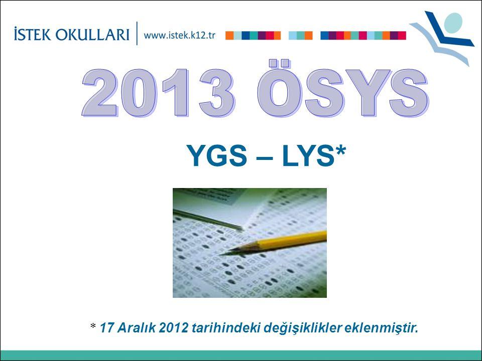 YGS – LYS* * 17 Aralık 2012 tarihindeki değişiklikler eklenmiştir.