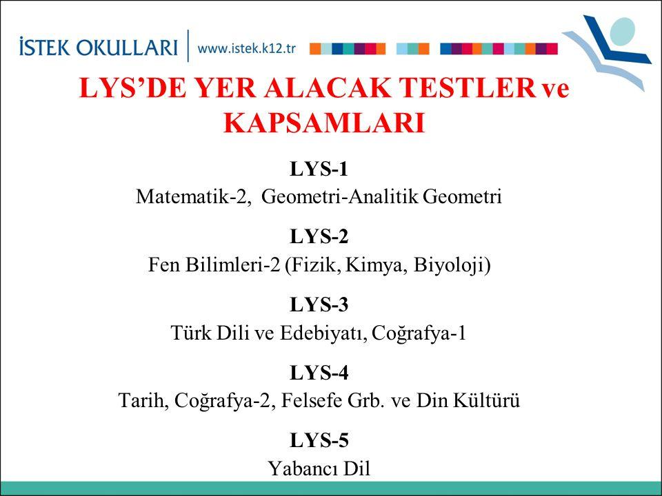 LYS-1 Matematik-2, Geometri-Analitik Geometri LYS-2 Fen Bilimleri-2 (Fizik, Kimya, Biyoloji) LYS-3 Türk Dili ve Edebiyatı, Coğrafya-1 LYS-4 Tarih, Coğ