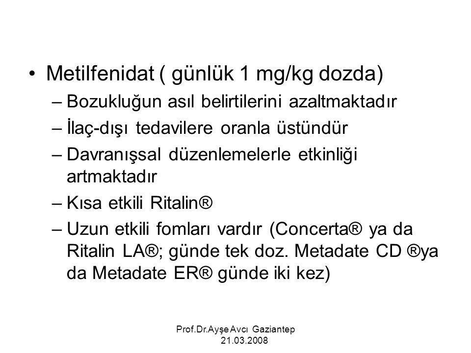 Prof.Dr.Ayşe Avcı Gaziantep 21.03.2008 Metilfenidat ( günlük 1 mg/kg dozda) –Bozukluğun asıl belirtilerini azaltmaktadır –İlaç-dışı tedavilere oranla