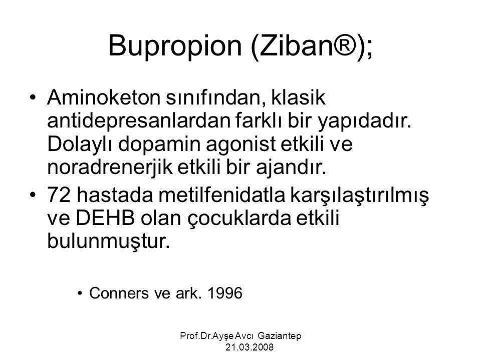 Prof.Dr.Ayşe Avcı Gaziantep 21.03.2008 Aminoketon sınıfından, klasik antidepresanlardan farklı bir yapıdadır. Dolaylı dopamin agonist etkili ve noradr