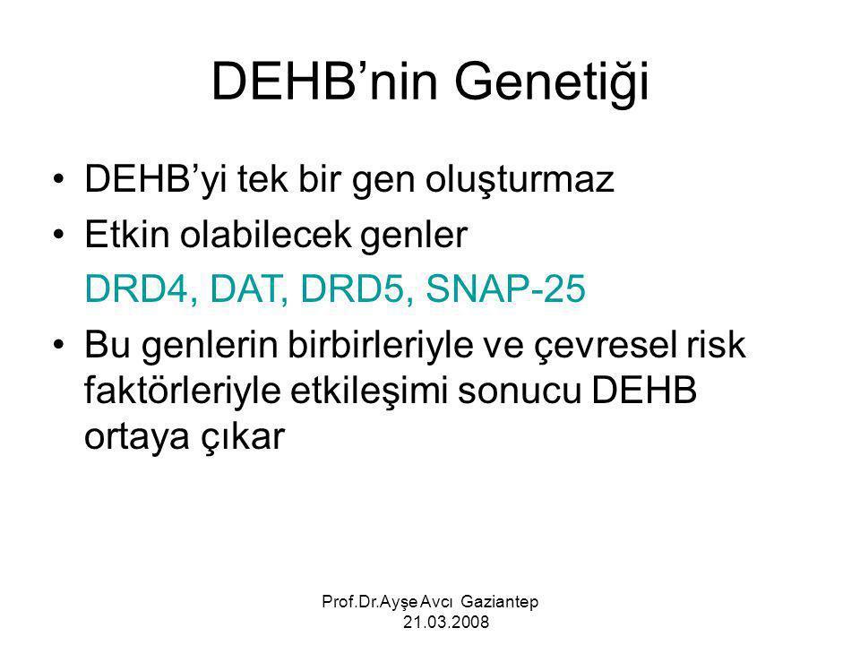 Prof.Dr.Ayşe Avcı Gaziantep 21.03.2008 DEHB'nin Genetiği DEHB'yi tek bir gen oluşturmaz Etkin olabilecek genler DRD4, DAT, DRD5, SNAP-25 Bu genlerin b
