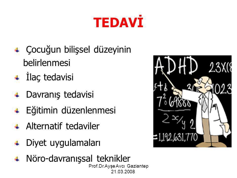 Prof.Dr.Ayşe Avcı Gaziantep 21.03.2008 Hiperaktivite yaşla birlikte azalmakta, Dikkatsizlik ve dürtü denetim sorunları kalıcı olabilmektedir.