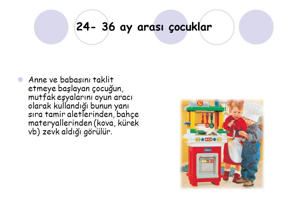 24- 36 ay arası çocuklar Anne ve babasını taklit etmeye başlayan çocuğun, mutfak eşyalarını oyun aracı olarak kullandığı bunun yanı sıra tamir aletlerinden, bahçe materyallerinden (kova, kürek vb) zevk aldığı görülür.