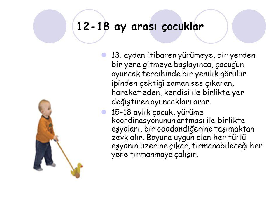 12-18 ay arası çocuklar 13. aydan itibaren yürümeye, bir yerden bir yere gitmeye başlayınca, çocuğun oyuncak tercihinde bir yenilik görülür. ipinden ç