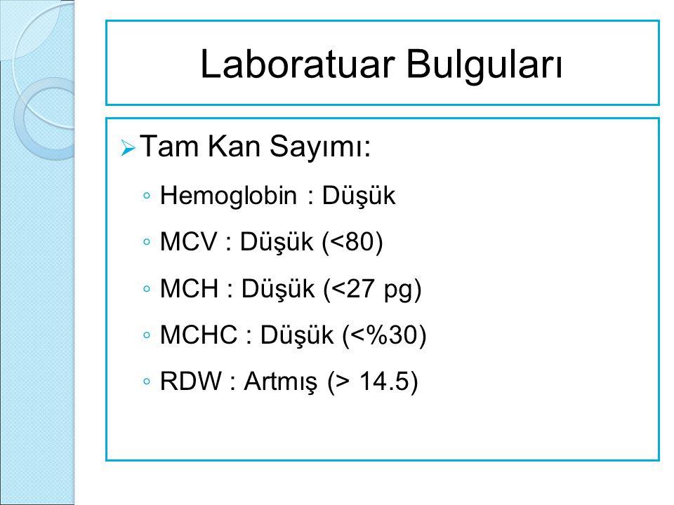 Laboratuar Bulguları  Tam Kan Sayımı: ◦ Hemoglobin : Düşük ◦ MCV : Düşük (<80) ◦ MCH : Düşük (<27 pg) ◦ MCHC : Düşük (<%30) ◦ RDW : Artmış (> 14.5)