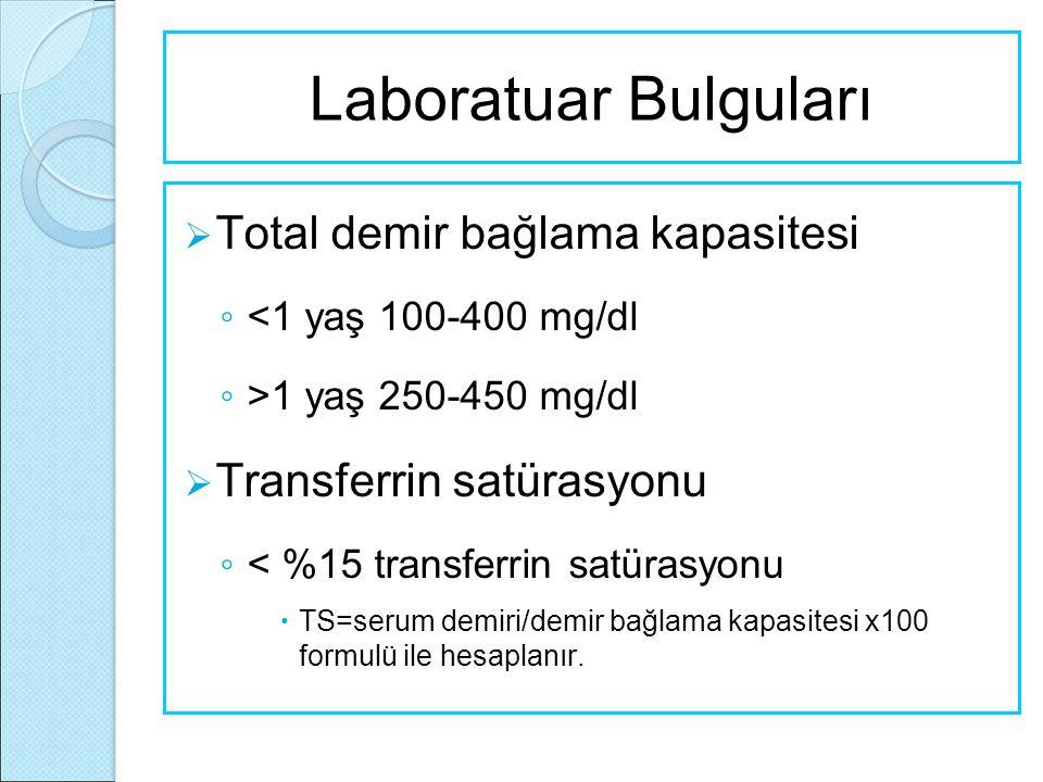 Laboratuar Bulguları  Total demir bağlama kapasitesi ◦ <1 yaş 100-400 mg/dl ◦ >1 yaş 250-450 mg/dl  Transferrin satürasyonu ◦ < %15 transferrin satü